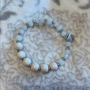 Alex and Ani white and silver beaded bracelet